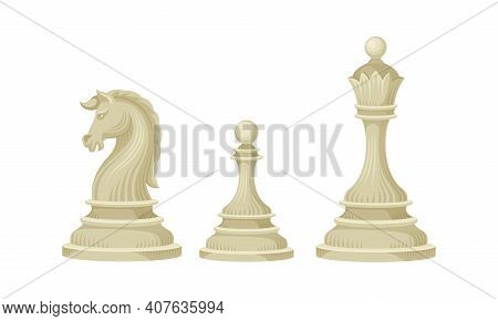 White Chess Piece Or Chessman With Knight And Pawn Vector Set