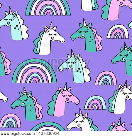 Vector Drawing With Cute Unicorns And A Rainbow.  Magic Background With Unicorns.  Hand-drawn Seamle