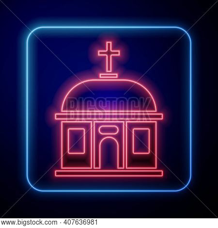 Glowing Neon Santorini Building Icon Isolated On Black Background. Traditional Greek White Houses Wi