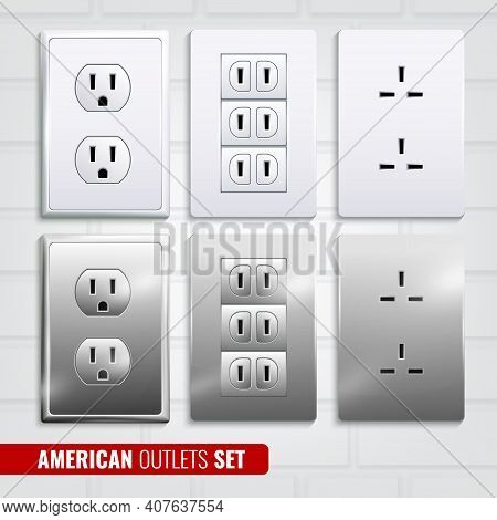 Set Of American Outlets At White Plastic Plates Isolated On Light Brick Wall Background 3d Vector Il