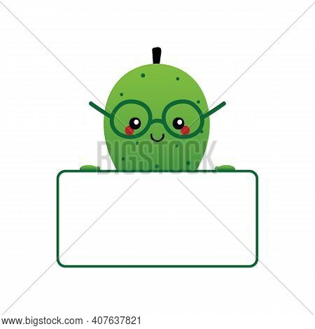 Cute Cartoon Style Soursop, Guanabana Fruit Character Smiling And Holding In Hands Blank, Empty Card