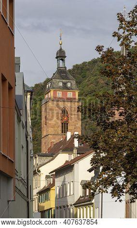 Steeple In Neustadt An Der Weinstraße, A Town In The Rhineland-palatinate In Germany