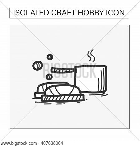Soap Making Hand Draw Icon. Make Soap Using Pans With Stages, Equipment And Ingredients. Handmade Ho