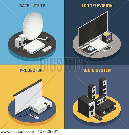 Home Theater System Projector And Satellite 2x2 Isometric Icons Set Isolated On Colorful Backgrounds