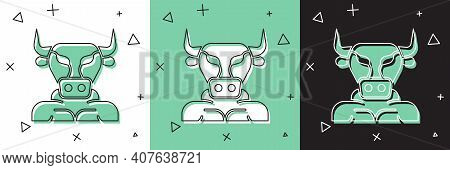 Set Minotaur Icon Isolated On White And Green, Black Background. Mythical Greek Powerful Creature Th