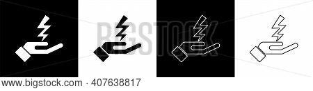 Set Zeus Icon Isolated On Black And White Background. Greek God. God Of Lightning. Vector