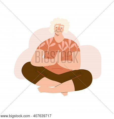 Elderly Woman Doing Yoga. Well-being Senior Character. Aged People Wellness, Slow Life, Digital Deto