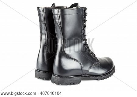 Three Quarter Back View On Pair Of Black Leather 10-inch New Black Military Combat Jump Boots, Isola