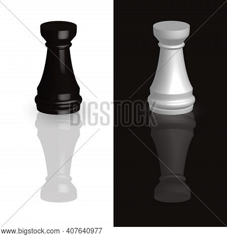 Chess Piece Rook 3d Black And White Isolated On Black-white Background. Chess Is A Strategic Board G