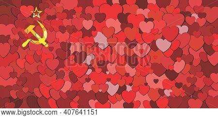 Soviet Union Flag Made Of Hearts Background - Illustration,  Abstract Mosaic Flag Of Soviet Union