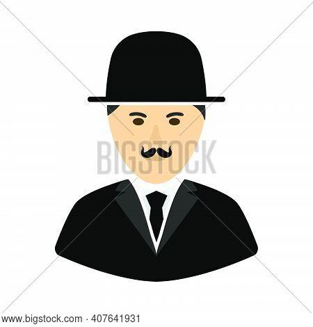 Detective Icon. Flat Color Design. Vector Illustration.