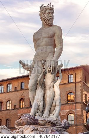 The Famous Statue Of Neptune In The Fountain On Piazza Della Signoria. Florence, Italy (vertical Pho