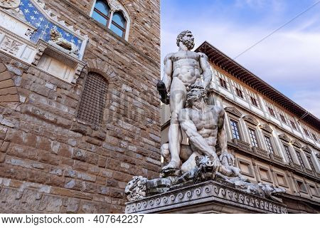 Sculpture Of Hercules And Cacus By Baccio Bandinelli At The Entrance Of The Palazzo Vecchio In The P