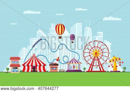 Amusement Park With Circus Carousels Roller Coaster And Attractions On Modern City Background. Fun F