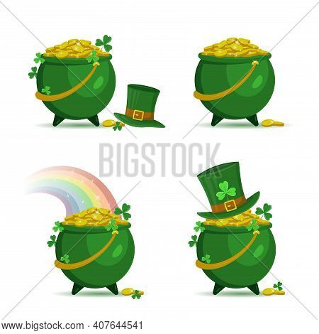 Set Of Green Pots With Gold Coins For Patrick's Day. Pots Of Gold With Leprechaun Hat And Rainbow. I