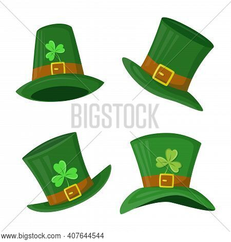 Set Of Green St. Patrick's Day Hat With Clover Leaf. Leprechaun's Hats With Shamrock. Vector Illustr
