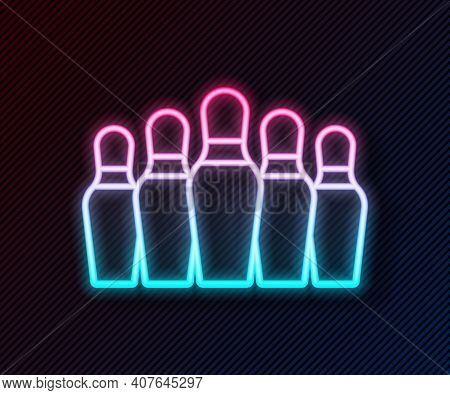 Glowing Neon Line Bowling Pin Icon Isolated On Black Background. Vector