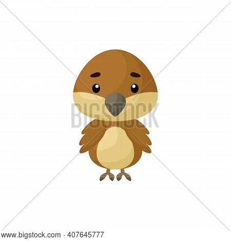 Cute Little Sparrow On White Background. Cartoon Animal Character For Kids Cards, Baby Shower, Birth