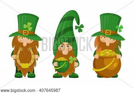 Set Of Three Cute St Patrick's Day Leprechaun Cartoon Character With Horseshoe And Pot Of Gold. Iris