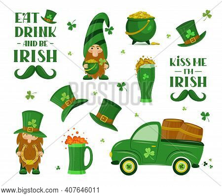 Set Of Traditional Irish Elements And Lettering Signs For Patrick's Day. Isolated Vector Illustratio