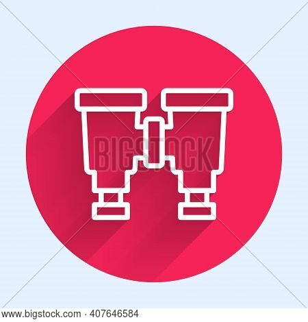 White Line Binoculars Icon Isolated With Long Shadow. Find Software Sign. Spy Equipment Symbol. Red