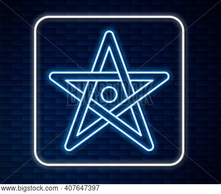Glowing Neon Line Pentagram Icon Isolated On Brick Wall Background. Magic Occult Star Symbol. Vector