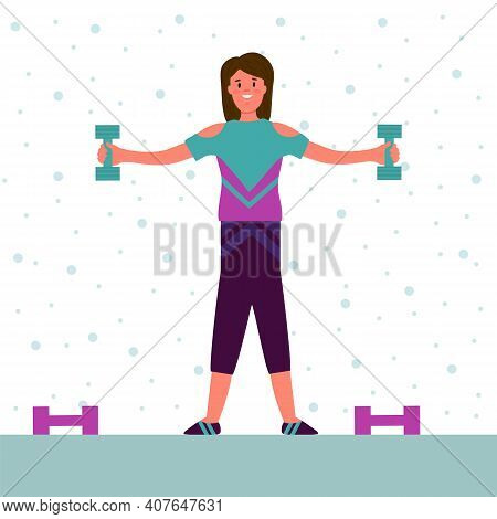 Women In The Fitness Room With Dumbbells. The Concept Of A Fitness Club Simulators In The Gym, Train