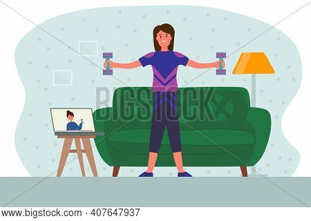 Women With Dumbbells At Home. The Concept Of Online Fitness At Home Training By Video Communication