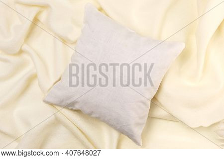 White Pillow Mockup On Soft Fabric Background With Waves. Clean White Pillow, Bedding Design Mockup.