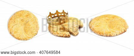 Set Of Traditional Delicious Galettes Des Rois On White Background. Banner Design
