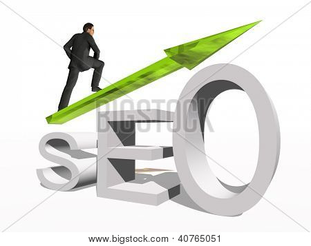 Conceptual 3D human,man or businessman standing over a seo symbol with an arrow isolated on white background