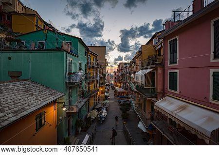 Manarola, Italy - October, 2020: Cityscape. Walking Manarola Village In Cinque Terre On The Italian