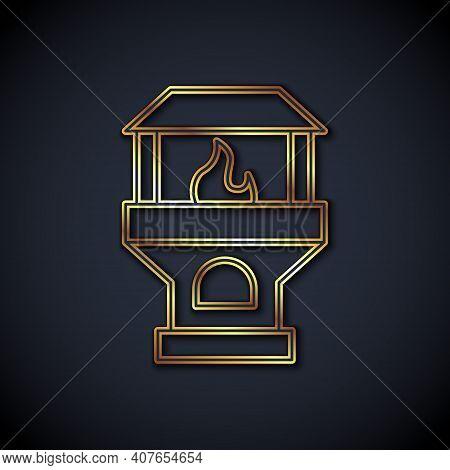 Gold Line Brick Stove Icon Isolated On Black Background. Brick Fireplace, Masonry Stove, Stone Oven