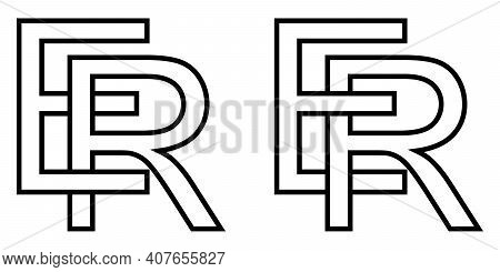 Logo Sign Er Re Icon Sign Interlaced Letters R, E Vector Logo Er, Re First Capital Letters Pattern A