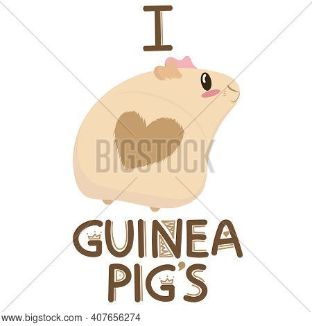 Cute Light Beige Guinea Pig With A Heart On The Bottom And Pink Ears, I Love Guinea Pigs, Cute Pet R
