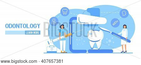 Dental Services Vector Concept For Landing Page. Dentists Make X-ray Scan Of Teeth To Help Toothache