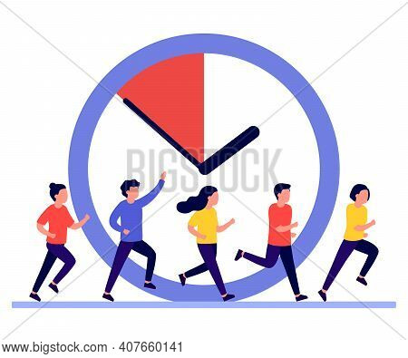 People Run, Hurry, Rush To Do On Work, Time Is Running Out. Work Time Management Concept, People And