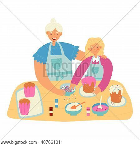 Family Easter Pastime. Granddaughter Helps Her Granny With Easter Cake Baking And Decorating With Ic