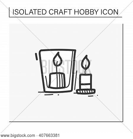 Handmade Candles Hand Draw Icon. Create Your Own Candles Using Dry Flowers. Enjoy The Beautiful Ligh