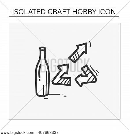 Upcycling Hand Draw Icon. Products Get Modified And Get Second Life Turned Into A New Product. Bottl