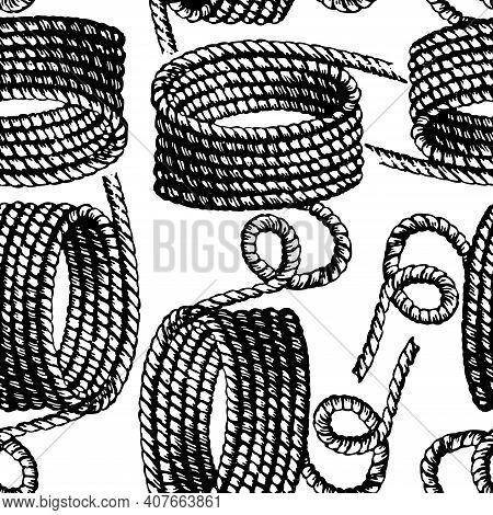 Seamless Pattern Of Drawn Hanks Rigging Rope