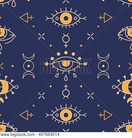 Seamless Wicca Pattern With Esoteric Eyes And Triple Goddess Symbol. Providence And Shamanism - Esot