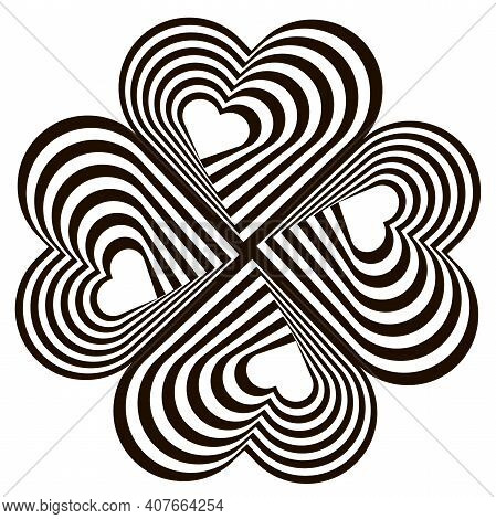 Design Four Hearts Swirl Rotation Illusion Background. Abstract Striped Distortion Twisted Backdrop.