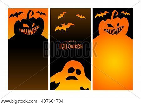 Halloween Vertical Banners. Jack Olantern, Pumpkin And Bat. Mobile Display, Stories Sale Templates S