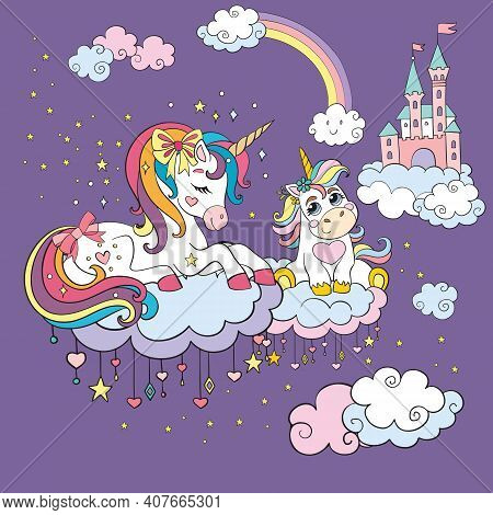 Cute Mommy And Baby Unicorns Dreaming In Twilight Cloudy Sky. Vector Colorful Illustration. For Part