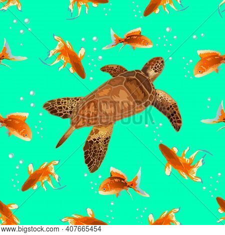Colored Pattern With Turtle And Goldfish.turtle And Goldfish On A Colored Background In A Seamless P
