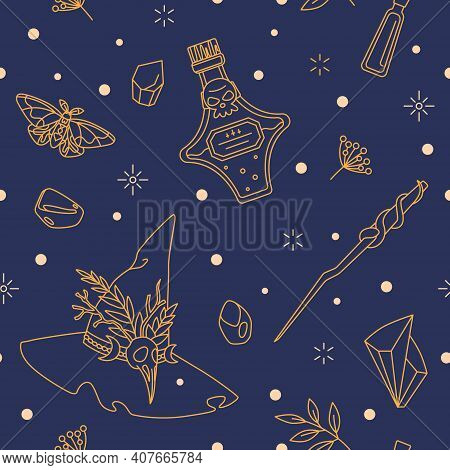 Ornament With Witch Hat, Potion Bottle And Magic Wand. Items Of Dark Witch - Textile, Wrapping Paper