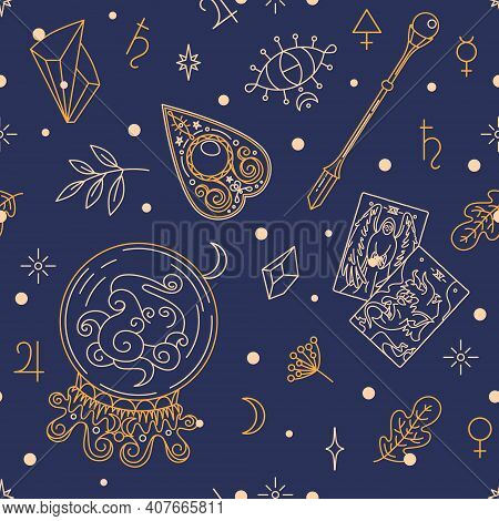 Items Of Fortune Teller Or Gypsy - Textile, Wrapping Paper And Stationery Print Design. Providence,