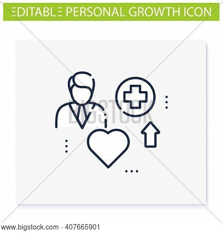 Improving Health Line Icon. Personal Growth Concept. Health Improvement And Protection. Self Care. I