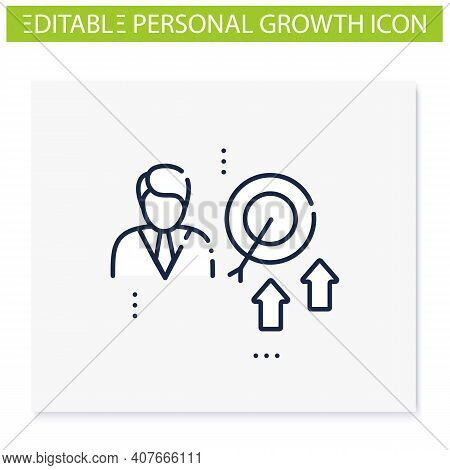 Achieving Growth Line Icon. Personal Growth Concept. Achieving Goals. Certification Training. Growth